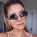 Women Luxury Brand Design Crystal Cateye Sunglasses Mirror Retro Diamonds Sun Glasses Women Female Shades Pink Sunglases Cat Eye