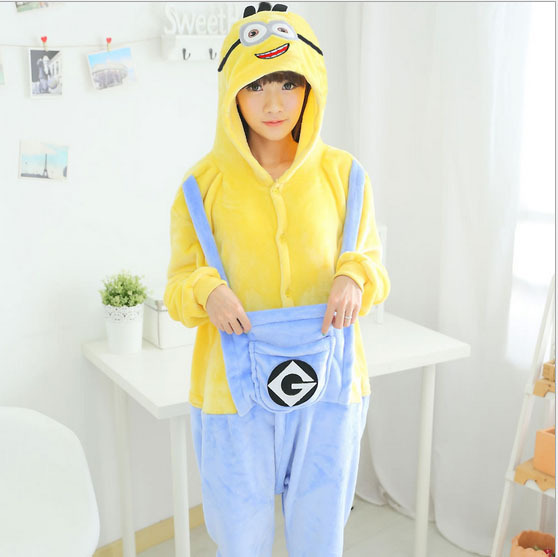 New 2015 Winter Christmas Sleepwear Hoodie Pyjamas Adult Despicable Me Minion Onesie Cosplay Costume Adult Minion Pajamas