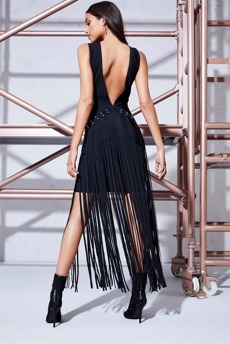 Nouvelle Nu V Robe Gland Bandage Noire Black Robes Fringe Piste De Picture Sexy Celebrity Rayonne Cocktail Mode as 2018 Avec Dos Col Longues FxwTq5CIFd