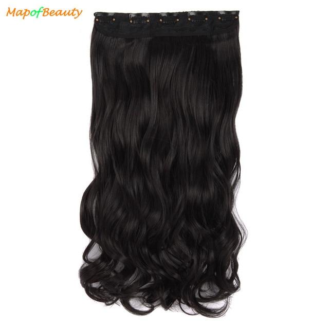 Mapofbeauty 20 Long Wavy 5 Clips In Hair Extension Black Brown Heat