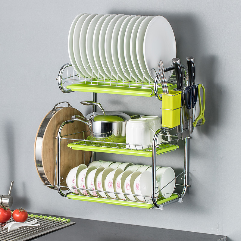 Wall-mounted Bowl Rack Multifunctional Three-storey Bowl Rack Drainage Rack Household Shelf Wall-mounted Kitchen Shelf