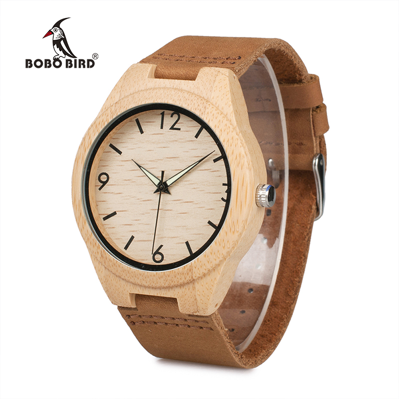 BOBO BIRD Watch Luminous Hands Genuine Leather Strap Quartz Bamboo Wristwatch OEM relogio masculino B-A40 мягкая игрушка promise a nw113501 bobo 35cm