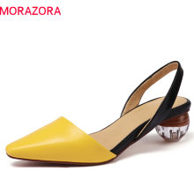 MORAZORA 2019 big size 41 genuine leather shoes woman slip on summer shoes unique fashion party wedding shoes woman sandals(China)