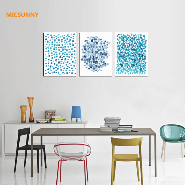 Micsunny nordic abstract blue dot picture canvas prints wall paintings contemporary art modern home decor for