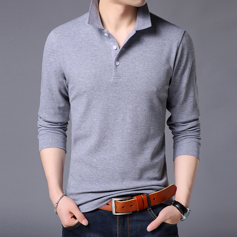 2019 New Fashion Brands Polo Shirt Men's Cotton Long Sleeve Slim Fit Korean Boys Boyfriend Gift Poloshirt Casual Men Clothes