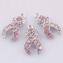 Посеребренная розовый кристалл горный хрусталь лента рак молочной железы осведомленности подвески 20 шт.