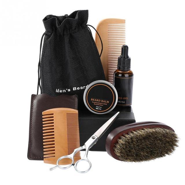 男性のひげスタイリングと整形クリームひげオイルキットはさみ口ひげヘアケアツール髭スタイリングくしブラシバッグ GroomingKit