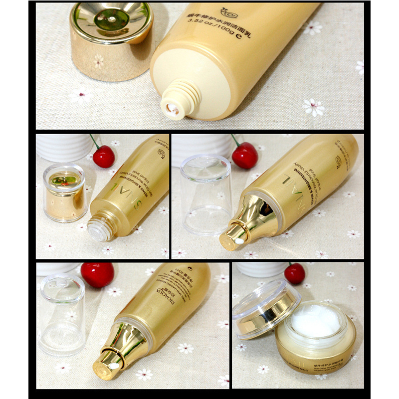 Bioaqua Gold Snail Face Skin Care Set Moisturizing Whitening  Facial Cream Toner Essence Milk Cleanser Korea Facial Set
