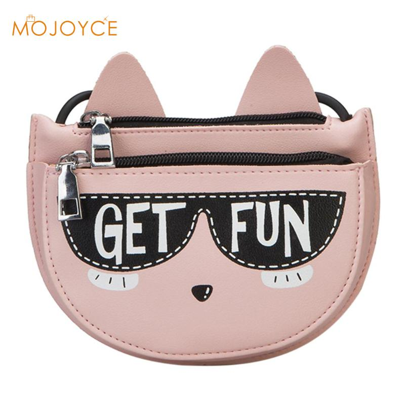 Wome Cute Cat Mini Bag Kids PU Leather Messenger Bag Girl Shoulder Zipper Purse Fashion Cat Handbags Wallet Gift for Kids 2018