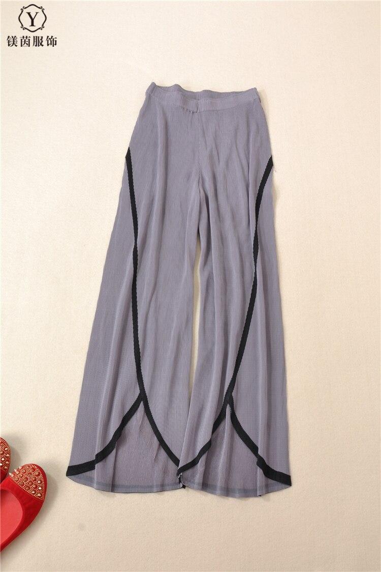 pièce Pantalons Larges 0 À Points Cofee Stock Scène Couleur Mode cou gris Frapper Neuf En Jambes T Miyake Manches Deux Sort De Plier shirt Costumes BOw76qUpa