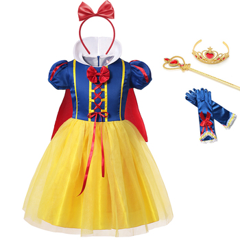 цена на Princess Snow White Dress for Girl Kids Costume with Cloak Summer Cotton Lantern Sleeve Ball Gown Children Party Birthday Dress