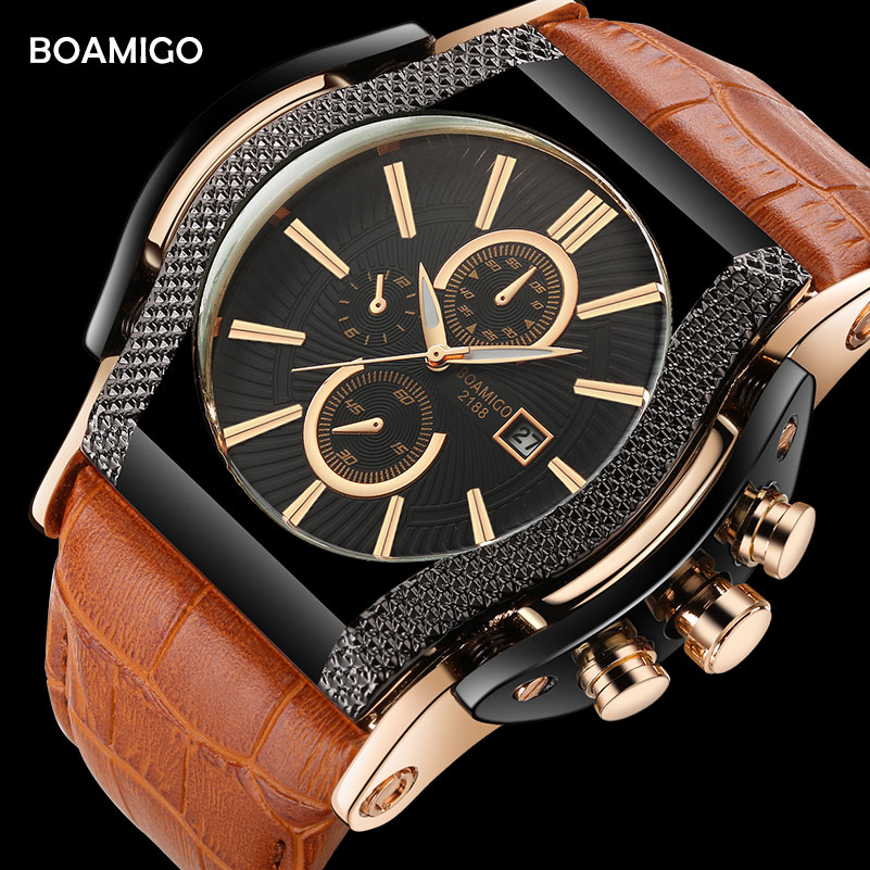 mens watches BOAMIGO brand men quartz watches big dial leather wristwatches 2017 luxury auto date gift clock relogio masculino big blue white dial men s sports quartz watches men watch pu leather wristwatches for lover gift relogio masculino ll