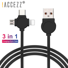 !ACCEZZ 3 in 1 USB Data Charging Cable Lighting For iPhone 7 XR XS Max X 8 Pin Micro Type C Samsung Xiaomi Phone Cables
