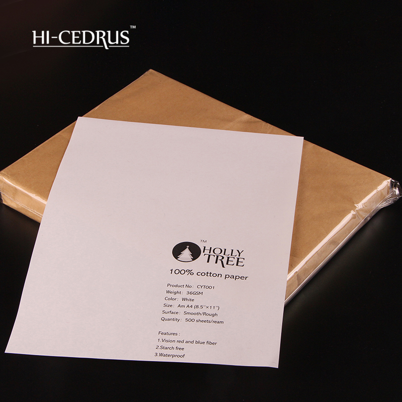 500 sheets 216mm x 279mm 36gsm 100% cotton business paper white color with blue and red fiber CYT001