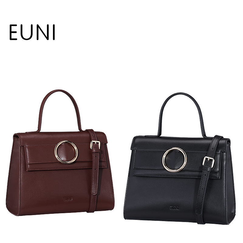 EUNI Exclusive Style High Quality Cowhide Leather Women Shoulder Bag Fashion Flap Pocket Ladies Leather Handbags Bag Tote Bag S4 high quality women cowhide tote bag