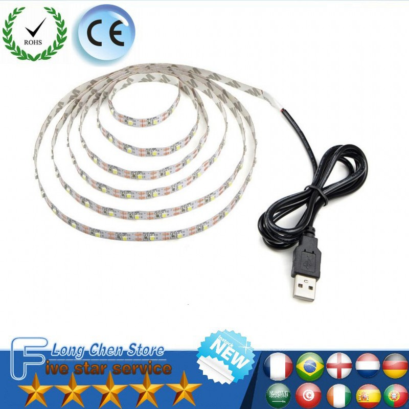 USB LED Strip 5V IP65 Waterproof light SMD3528 50cm 1M 2M 3M 4M 5M RGB Green Red Blue Christmas Flexible TV Background Lighting