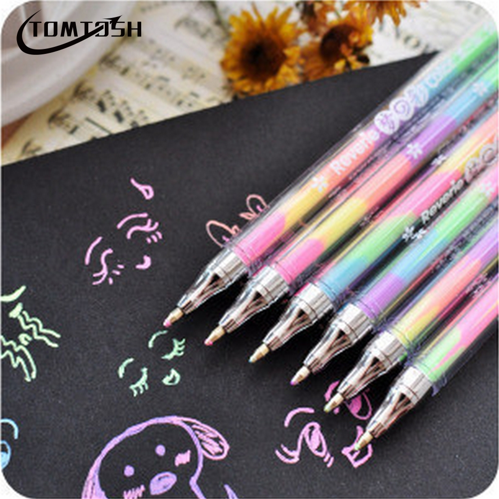 1Pcs Gradient 6 Colors in Gel Pens Office & School Supplies Ballpoint Pens
