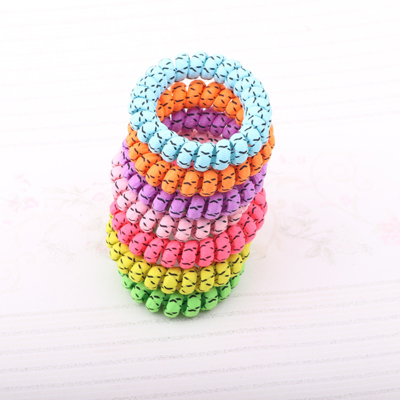 100Pcs/Lot Telephone Wire Line Cord Wrap Cloth Hair Ring Elastic Hair Band Hair Scrunchy Accessories For Women Random Color