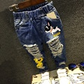 2017 spring children denim pants Kids casual jeans Boys spring fashion cartoon ripped jeans pants 2- 7 years !