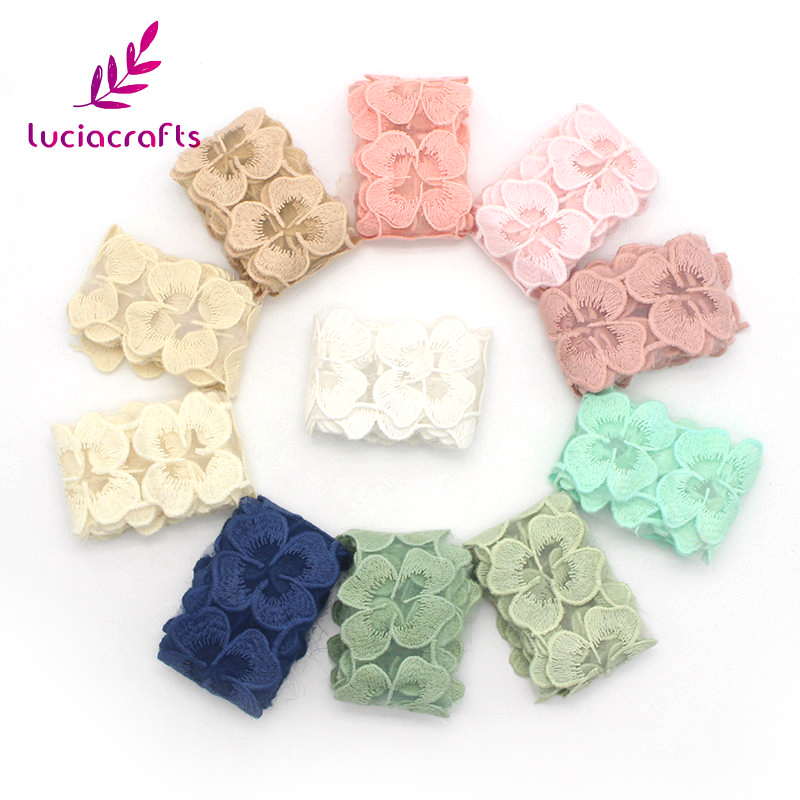 Lucia crafts 5cm Cotton Embroidered Applique Flower Lace Ribbons Headdress Garment DIY Accessories 1 yard/lot 17015081(5D1y)