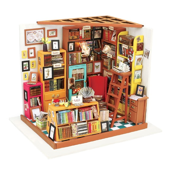 Robotime DIY Samu0027s Study Room With Furniture Children Adult Miniature  Wooden Doll House Model Building Kits