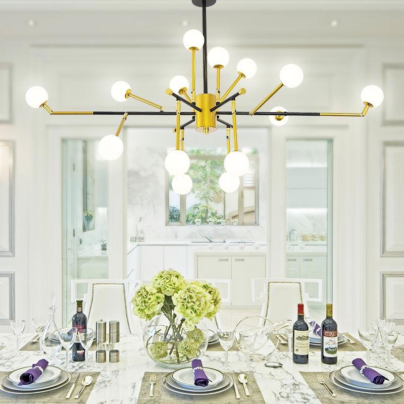 Modern Designer Chandeliers Living Room Kitchen Glass Lamp Gold Iron Indoor Lights Fixtures Decor Home Lighting G4 110-220V