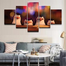 Penguins Of Madagascar Science Fiction Cartoon Movie HD Print 5 Piece Canvas Living Room Painting Wall Art