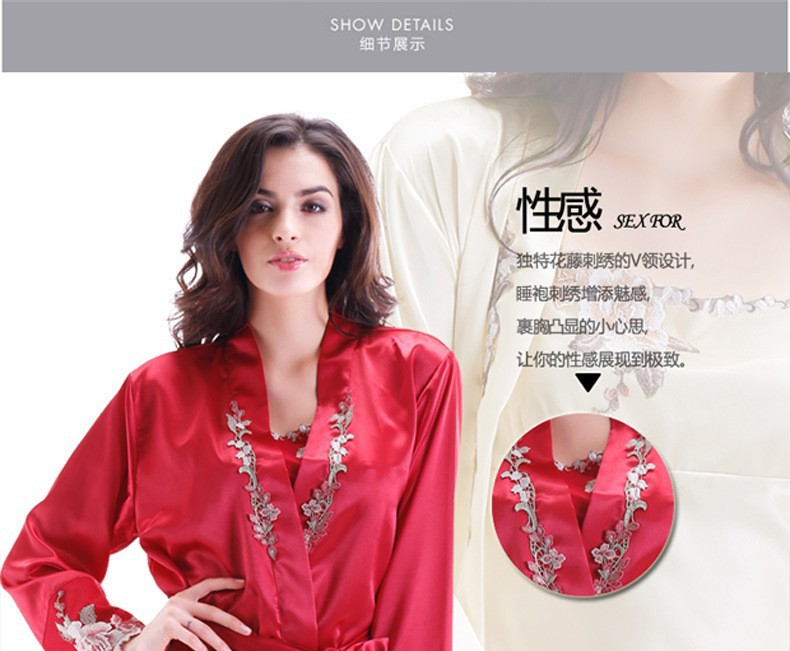 Red Satin Silk Robes and Silk Nightgown Sets for Women Silk Embroidery Details