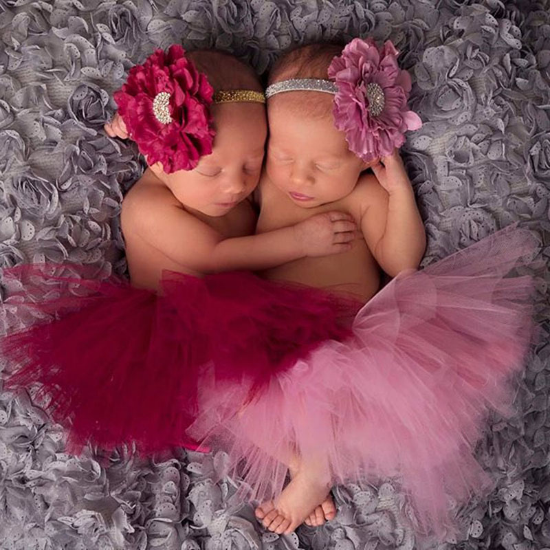 Twin Tutus Newborn Twin Tutu Skirt Baby Twin Tutus and Headband Set Newborn Twin Photography Prop Costume TS046 цена