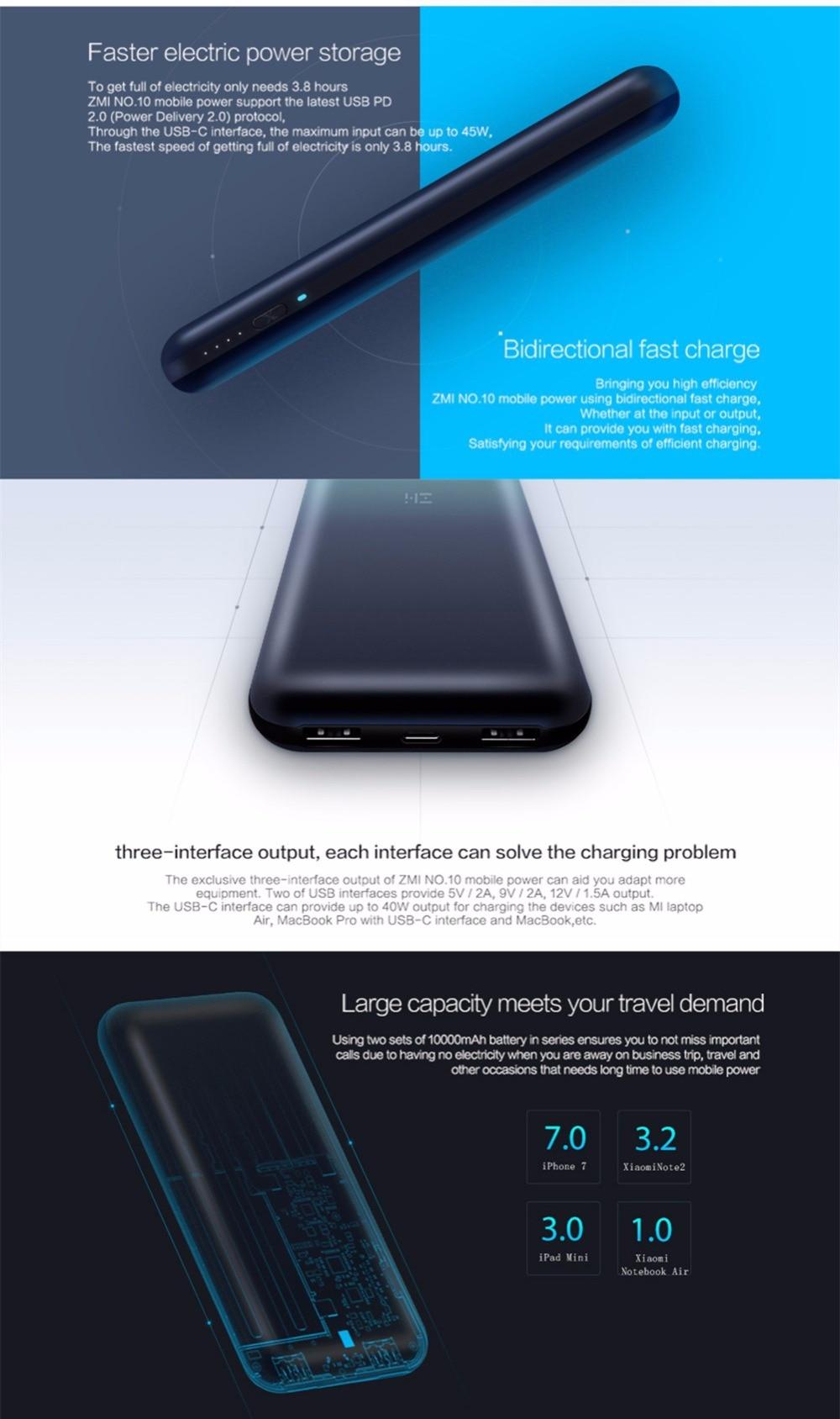 Original Xiaomi Zmi 20000 Mah Energienbank Usb Pd 20 Quick Charge Kabel Power Laptop 30 Mit Typ C Fr Macbook