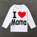 Monkids 2017 2 Colors Baby Long Sleeve Baby Clothing Simple Letter Love Mom And Dad Baby Cotton Full Sleeved T-shirt