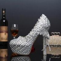 Night Club Queen Crystal Pumps Bridal Silver Bow Rhinestone Thin High Heel Shoes Girl Party Sexy
