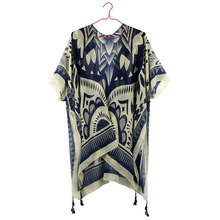 2019 Women Kimono Tassels Long Beach Kimono Cardigan Bohemian Geometric Print Womens Summer Shirts Raglan Sleeve Blouse Boho Top raglan sleeve knot side blouse