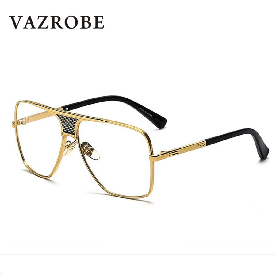 040e53b5edb Vazrobe Mens Eye Glasses Frame fashion gold black eyeglasses man non  prescription 145mm flat top eyeglass male punk style-in Eyewear Frames from  Apparel ...
