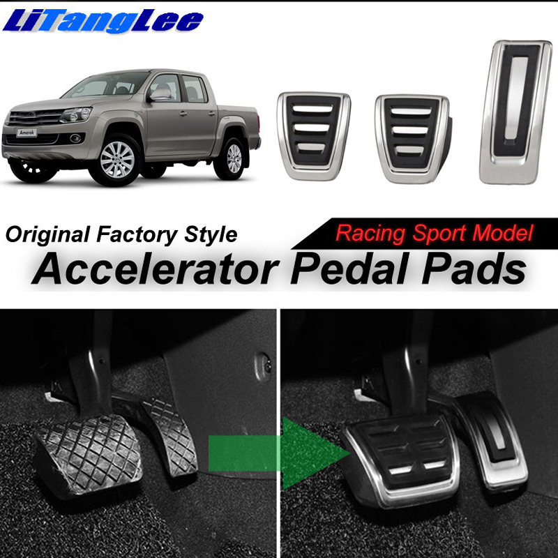 LitangLee Car Accelerator Pedal Pad Cover Sport Racing Design Foot Throttle Pedal Cover For Volkswagen VW Amarok 2010~2018 MT litanglee car accelerator pedal pad cover racing sport for mini cooper clubman r55 f54 2007 onwork at foot throttle pedal cover