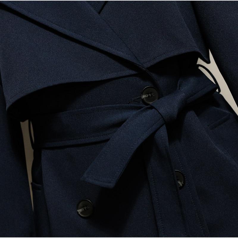 Manteau Britannique Double Long Survêtement Navy Manches Turn Bleu Marine Style down Boutonnage À Automne Tranchée Printemps Ok593 2017new Col Longues Blue qwWZ75xtq
