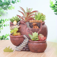 Retro European Succulent Planter Flowerpot Vase Storage Box Mini Bonsai Cactus Plant Pot Desktop Balcony Home Garden Supplies