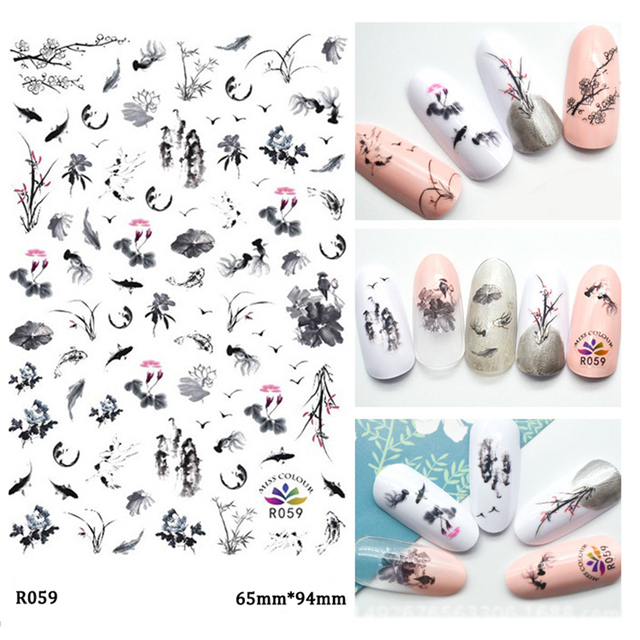Chinese Ink Painting Style Flower Decal Nail Art Stickers