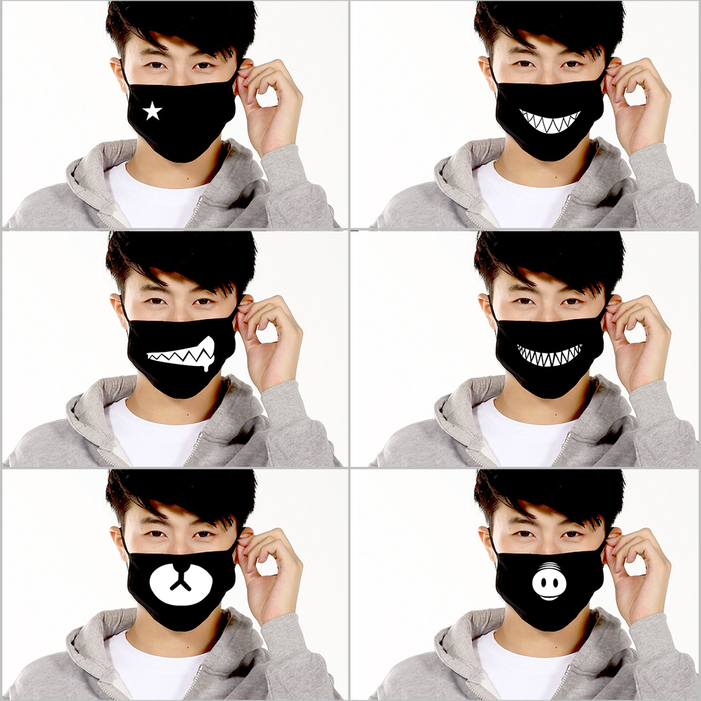 US $6 27 49% OFF|Ankoow 6Pcs Unisex Face Mask Anti Dust Black Cotton Cute  Bear Teeth Anti Pollution Mouth Mask Anti Haze-in Party Masks from Home &
