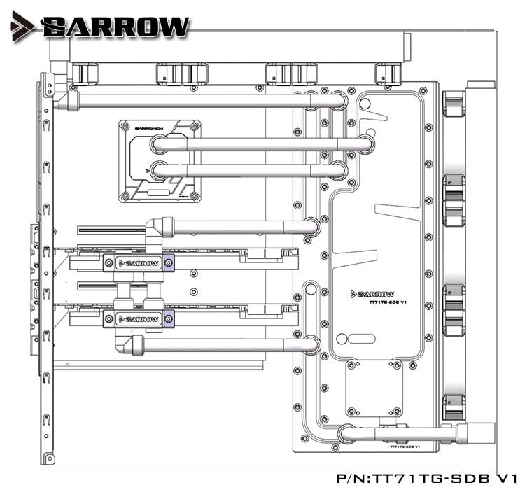 Купить с кэшбэком Barrow Acrylic Board Water Channel use for Tt View 71 TG/TG RGB Computer Case for CPU and GPU Block RGB 5V 3PIN Waterway Boards