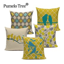 Fashion Yellow Color Love Bird Pillow Cover