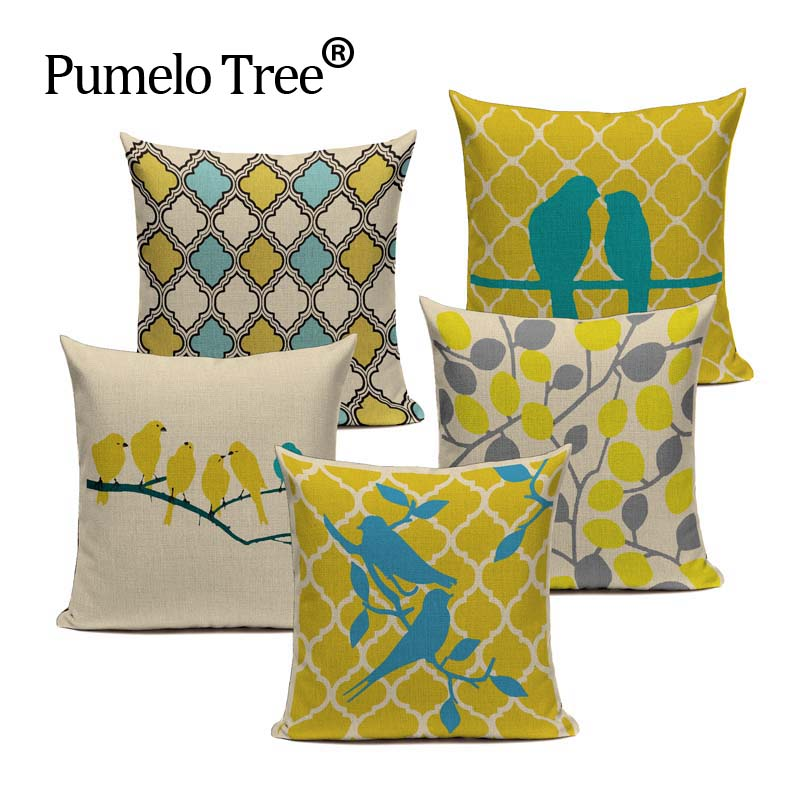 Fashion Yellow Color LOVE Bird Cushions Cover Heart Home Decor Linen Cotton  Pillow Cover Decorative Throw