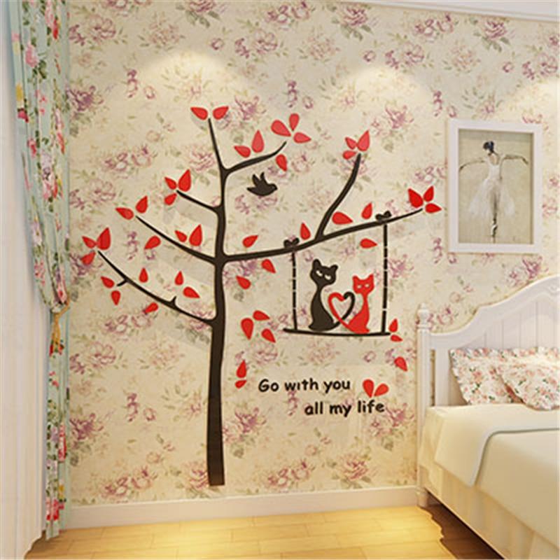 Arbre à chat dessin animé bricolage acrylique cristal 3d autocollant TV toile de fond chambre d'enfants en trois dimensions décor à la maison stickers muraux