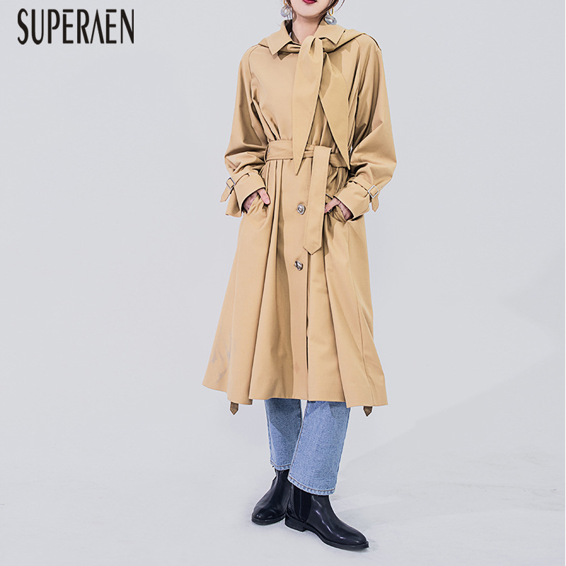 SuperAen 2019 Spring Single-breasted   Trench   Coat for Women Wild Casual Cotton Solid Color Ladies Windbreaker Europe
