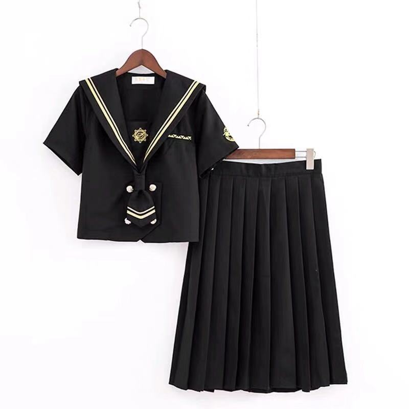 2019 New Spring Japanese School Uniforms For Girls Cotton Shirt+Long Skirt Fashion Style Students Clothes Navy Black