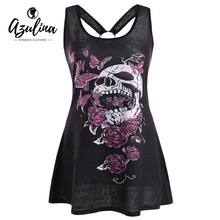 AZULINA Plus Size Skull Butterfly Tunic Racerback Tank Top Gothic Women Tops Summer Casual U Neck Hoop Insert Tanks Clothes 5XL
