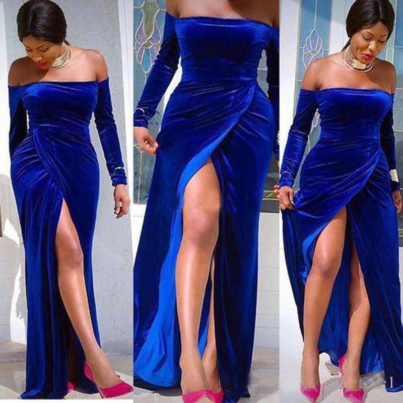2019 ff את כתף ערב שמלות מלכותי כחול קטיפה ארוך שרוול צד פיצול בת ים לטאטא רכבת צד פורמלי ללבוש שמלות נשף