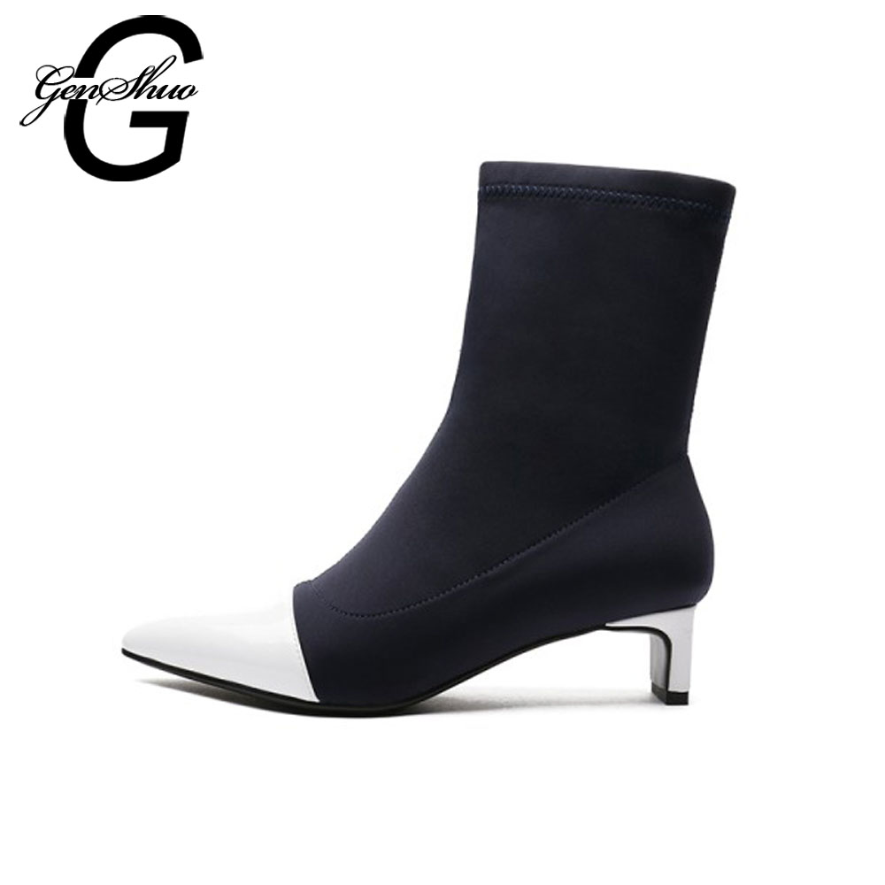 GENSHUO Concise Autumn Fashion Women Mid Calf Boots Ladies Shoes Women Pumps Spring Patchwork Stretch Women Boots Ladies Boots