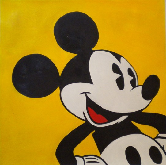 Famous Mickey Mouse On A Yellow Wall Art Home Deco Handmade Canvas