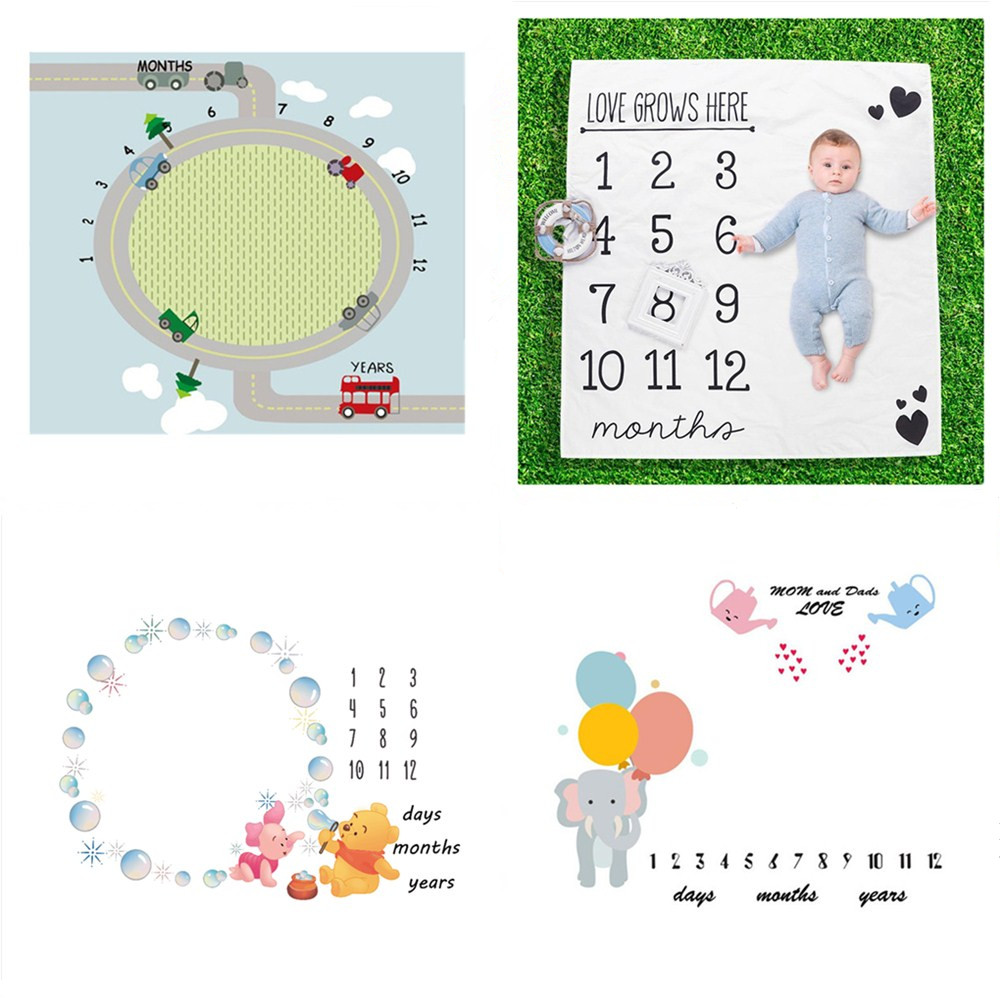 Cute Patterns Infant Portray Blanket Milestone Photo Props Backdrop Cloth Calendar Baby Photo Accessories Baby Play Mats